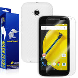 Motorola Moto E (2nd Gen, 2015) Screen Protector + White Carbon Fiber Skin