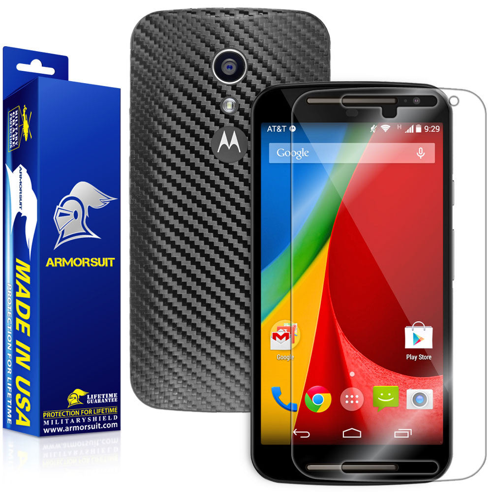 a171eb4a416 Motorola Moto G (2nd Generation 2014) Screen Protector + Black Carbon Fiber  Skin