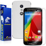 Motorola Moto G (2nd Generation 2014) Screen Protector + White Carbon Fiber Skin