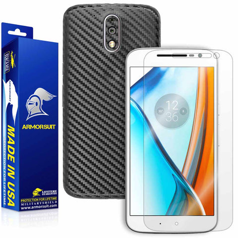 Motorola Moto G4 (4th Gen) Screen Protector + Black Carbon Fiber Skin