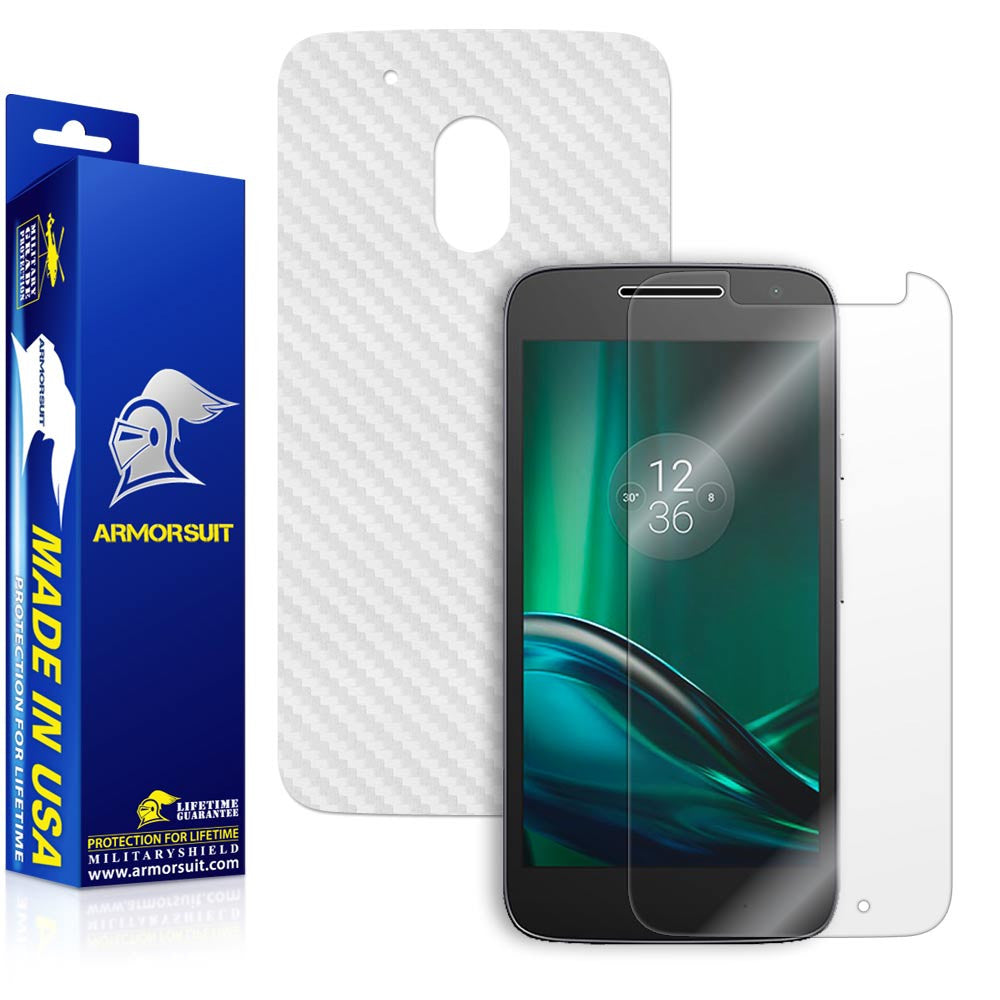 Motorola Moto G4 Play Screen Protector + White Carbon Fiber Skin