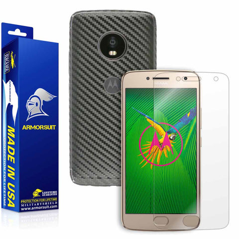 Motorola Moto G Plus 5th Generation Screen Protector + Black Carbon Fiber Skin