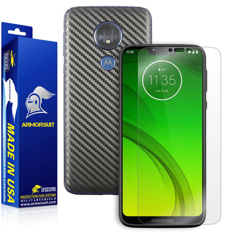 Motorola Moto G7 Power Screen Protector + Black Carbon Fiber Skin Protector