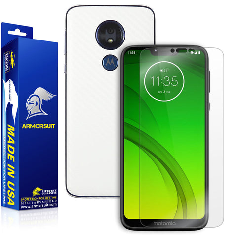 Motorola Moto G7 Power Screen Protector + White Carbon Fiber Skin Protector