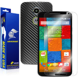 Motorola Moto X (2nd Generation 2014) Screen Protector + Black Carbon Fiber Skin
