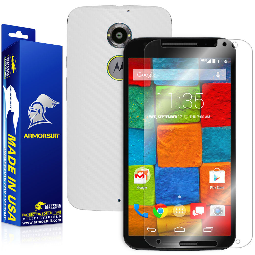 Motorola Moto X (2nd Generation 2014) Screen Protector + White Carbon Fiber Skin