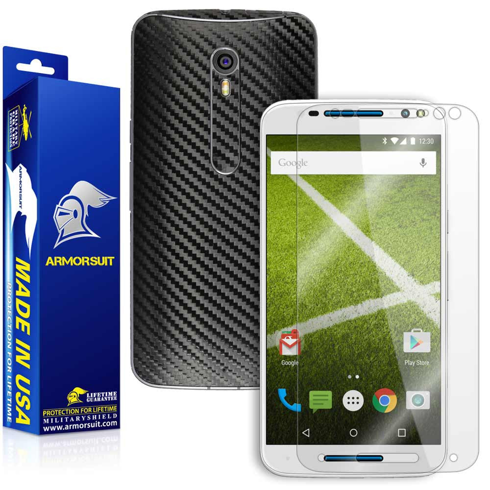 Motorola Moto X Pure Edition Screen Protector + Black Carbon Fiber Skin