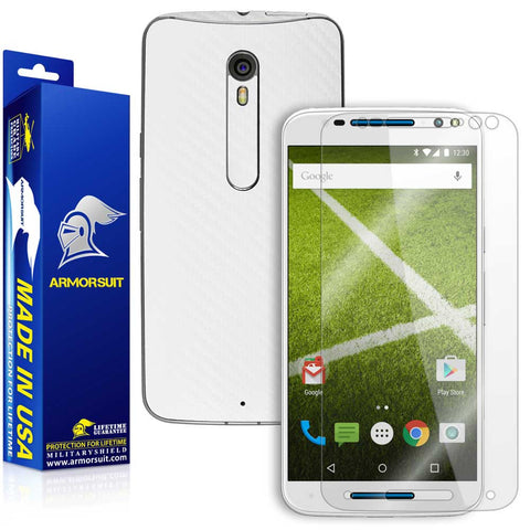Motorola Moto X Pure Edition Screen Protector + White Carbon Fiber Skin