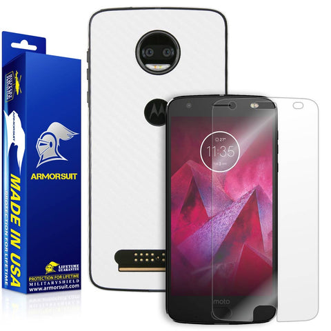 Motorola Moto Z2 Force Screen Protector + White Carbon Fiber Full Body Skin Protector