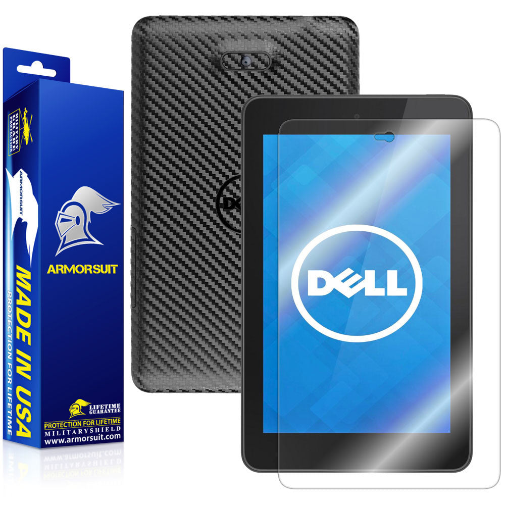 New Dell Venue 7 (2014) Screen Protector + Black Carbon Fiber Skin Protector