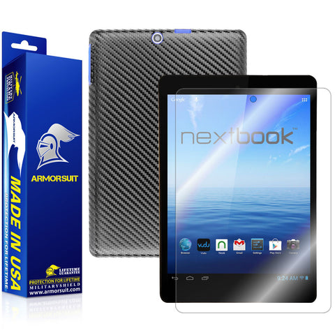 Nextbook 8 7.85'' Tablet NX785QC8G Quad Core Screen Protector + Black Carbon Fiber
