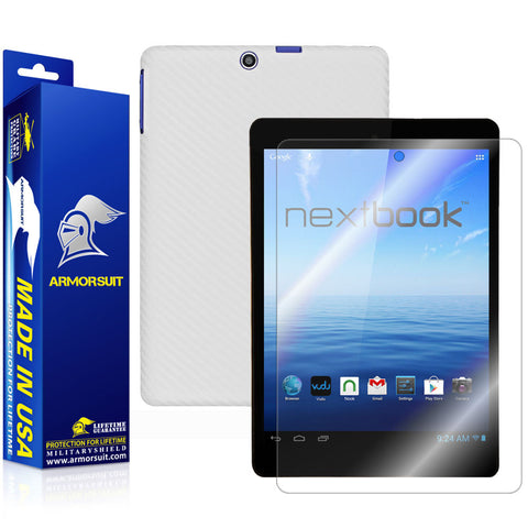 Nextbook 8 7.85'' Tablet NX785QC8G Quad Core Screen Protector + White Carbon Fiber