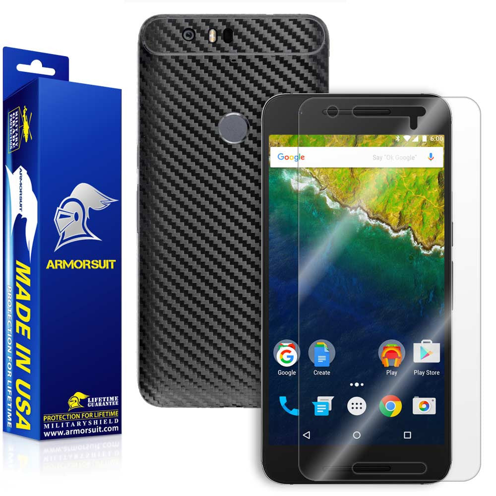 Huawei Nexus 6P Screen Protector + Black Carbon Fiber Full Body Skin Protector