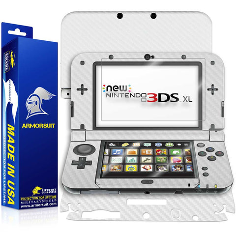 New Nintendo 3DS XL (2015) Screen Protector + White Carbon Fiber Skin
