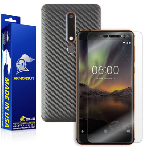 Nokia 6.1 Screen Protector + Black Carbon Fiber