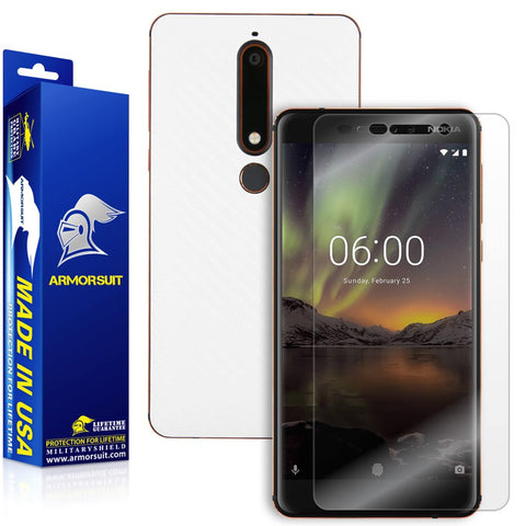 Nokia 6.1 Screen Protector + White Carbon Fiber