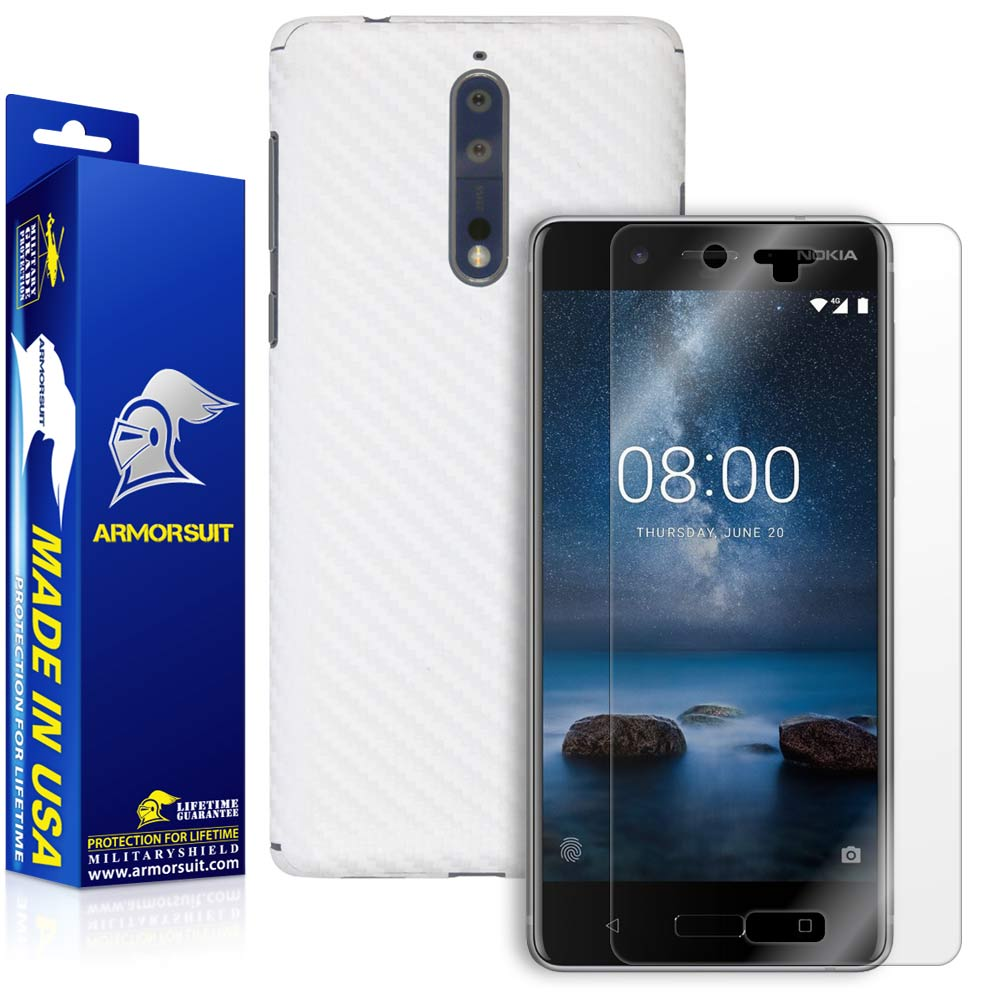 Nokia 8 Screen Protector + White Carbon Fiber