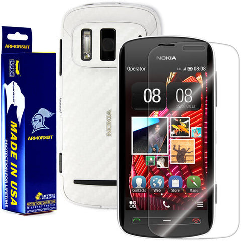 Nokia 808 PureView Screen Protector + White Carbon Fiber Film Protector