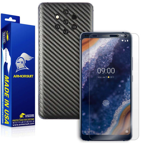 Nokia 9 Pureview Screen Protector + Black Carbon Fiber