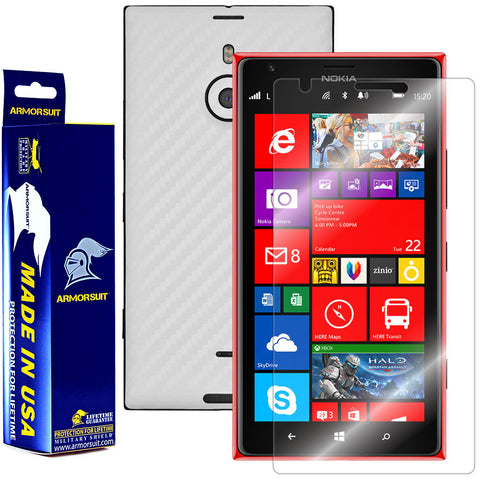 Nokia Lumia 1520 Screen Protector + White Carbon Fiber Film Protector
