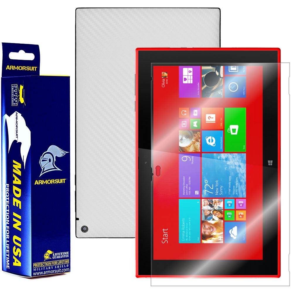 Nokia Lumia 2520 Tablet Screen Protector + White Carbon Fiber Film Protector