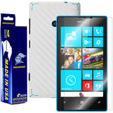 Nokia Lumia 520 Screen Protector + White Carbon Fiber Skin