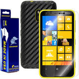 Nokia Lumia 620 Screen Protector + Black Carbon Fiber Film Protector