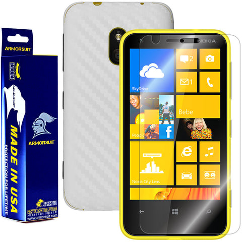 Nokia Lumia 620 Screen Protector + White Carbon Fiber Film Protector
