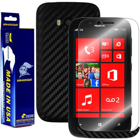 Nokia Lumia 822 Screen Protector + Black Carbon Fiber Film Protector