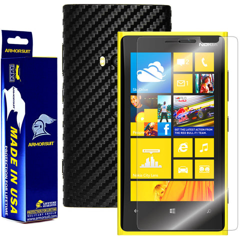 Nokia Lumia 920 Screen Protector + Black Carbon Fiber Film Protector