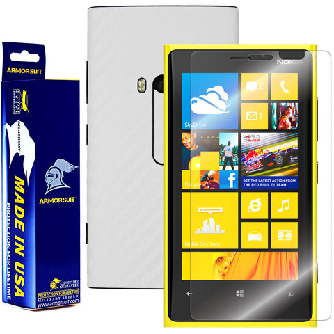 Nokia Lumia 920 Screen Protector + White Carbon Fiber Film Protector