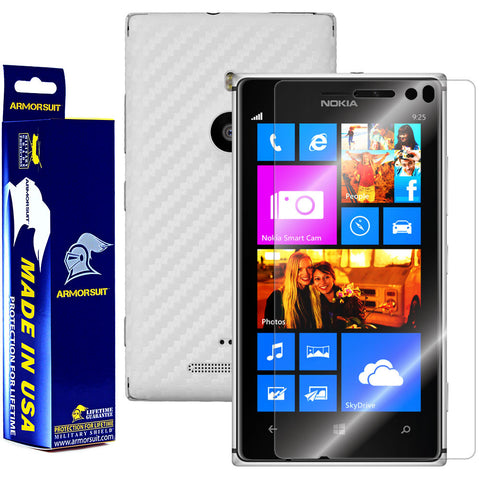 Nokia Lumia 925 Screen Protector + White Carbon Fiber Film Protector