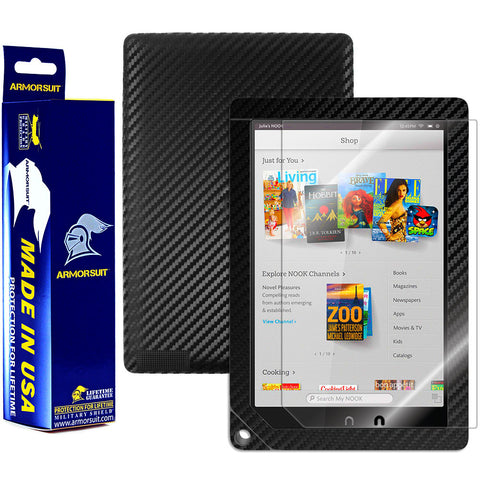Barnes & Noble NOOK HD+ Screen Protector + Black Carbon Fiber Film
