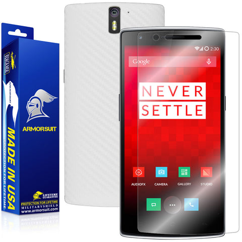 OnePlus One Screen Protector + White Carbon Fiber Film Protector