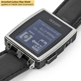 Pebble Steel Smartwatch Screen Protector + Black Carbon Fiber Skin