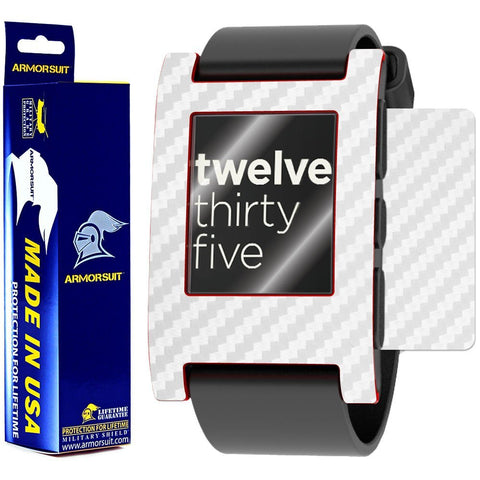 Pebble Smartwatch Screen Protector + White Carbon Fiber Film Protector
