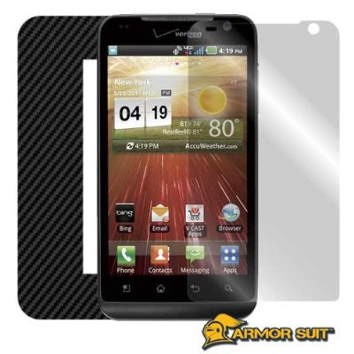LG Revolution Screen Protector + Black Carbon Fiber Skin Protector
