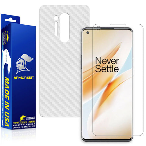 OnePlus 8 Screen Protector + White Carbon Fiber Skin