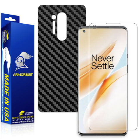OnePlus 8 Screen Protector + Black Carbon Fiber Skin