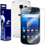Samsung Galaxy Exhilarate Screen Protector + White Carbon Fiber Skin Protector