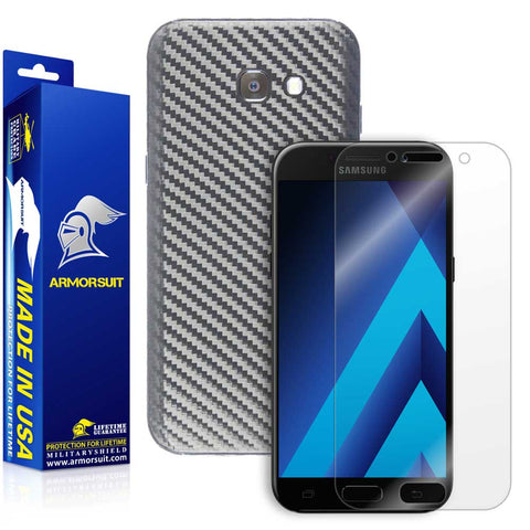 Samsung Galaxy A5 (2017) Screen Protector + Black Carbon Fiber Skin