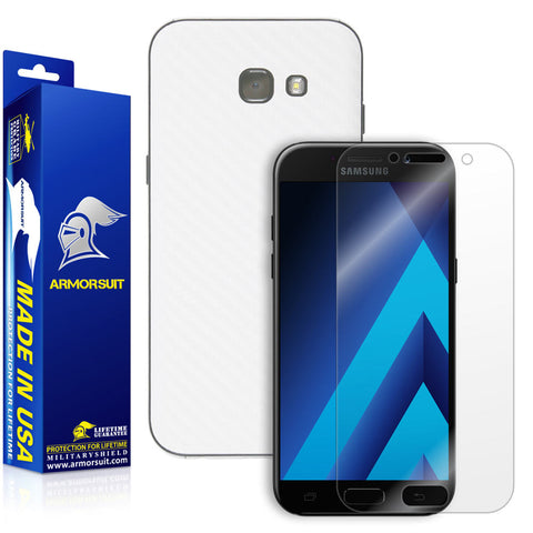 Samsung Galaxy A5 (2017) Screen Protector + White Carbon Fiber Skin