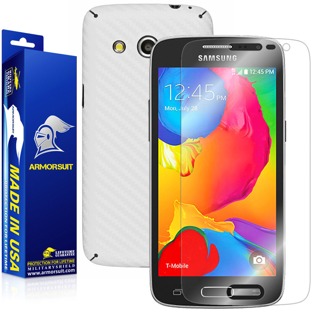 Samsung Galaxy Avant Screen Protector + White Carbon Fiber Skin