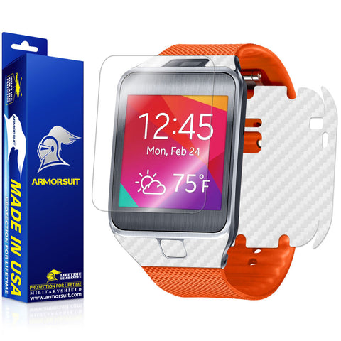 Samsung Galaxy Gear 2 Screen Protector + White Carbon Fiber Film Protector