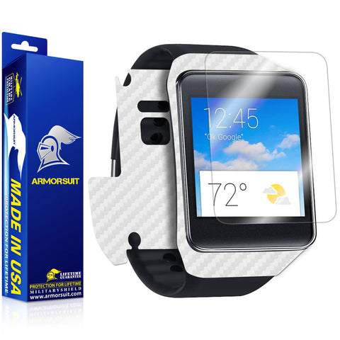 Samsung Galaxy Gear Live Screen Protector + White Carbon Fiber Film Protector