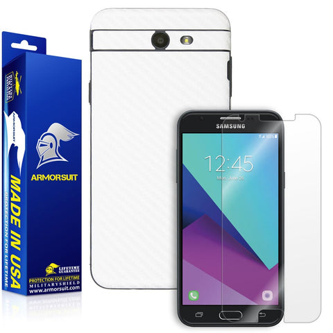 Samsung Galaxy J3 (2017) Screen Protector + White Carbon Fiber Skin