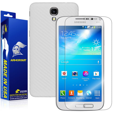Samsung Galaxy Mega 2 Screen Protector + White Carbon Fiber Skin