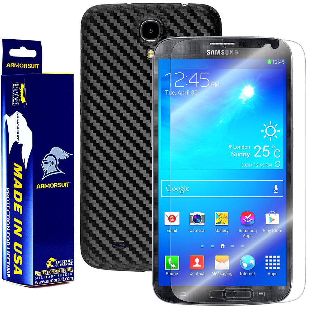 Samsung Galaxy Mega 6.3 Screen Protector + Black Carbon Fiber Protector