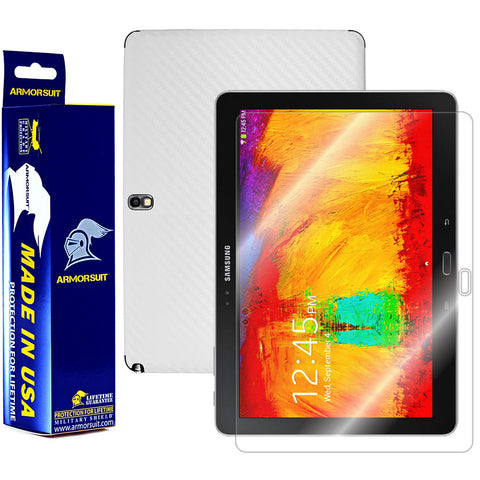 Samsung Galaxy Note 10.1 (2014 Edition) Screen Protector + White Carbon Fiber Film Protector