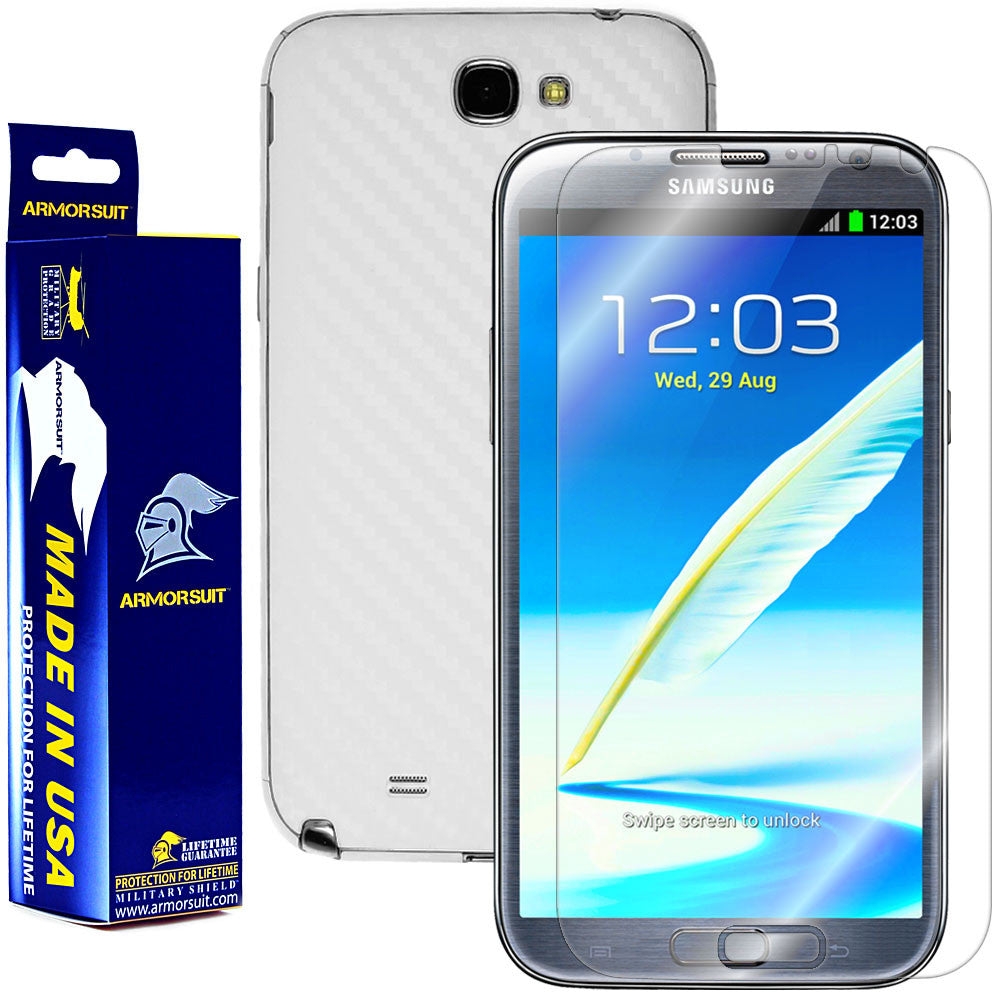 Samsung Galaxy Note II Screen Protector + White Carbon Fiber Skin Protector